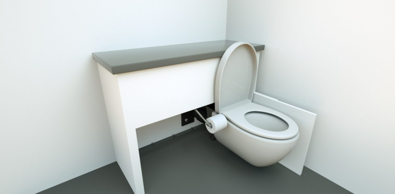 discretionary unit fully extended open with toilet roll holder