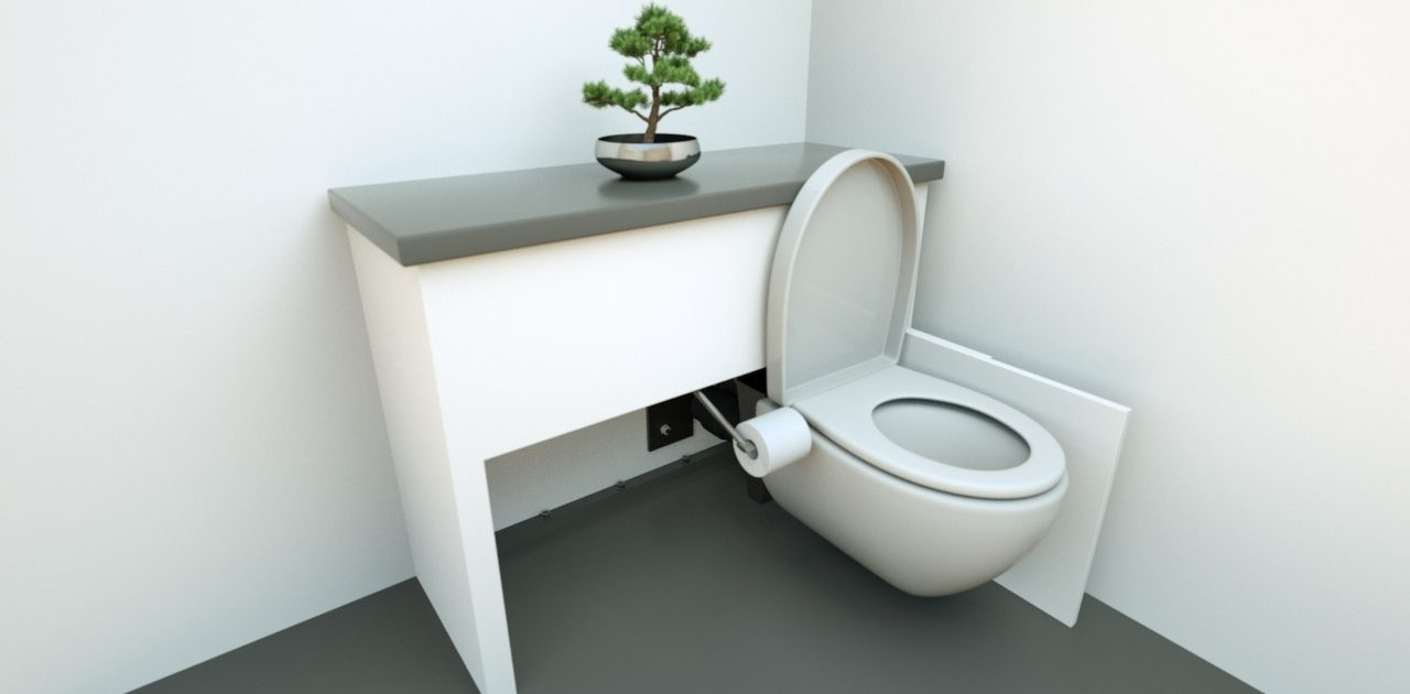hidealoo discretionary unit open and fully extended toilet with roller holder
