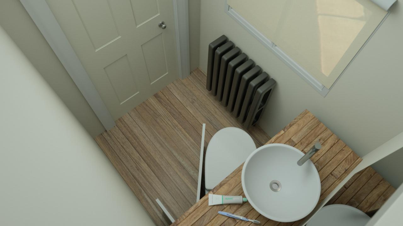 hidealoo standAlone with half open door bathroom door shut