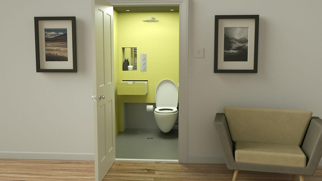 hidealoo showerloo looking through door into bathroom