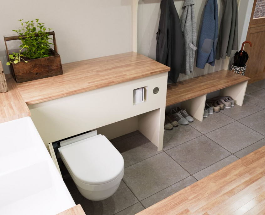 country utility room idea with retractable toilet extended in tight space