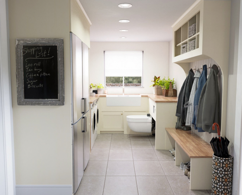 country utility room idea with retractable toilet extended