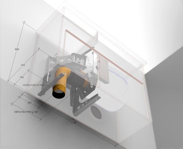 hidealoo retractable toilet cabinet with floor exit waste pipe