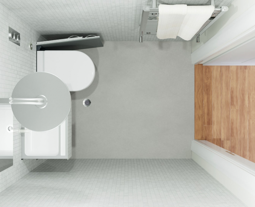 hidealoo small compact shower room idea with retractable space-saving toilet birds-eye view