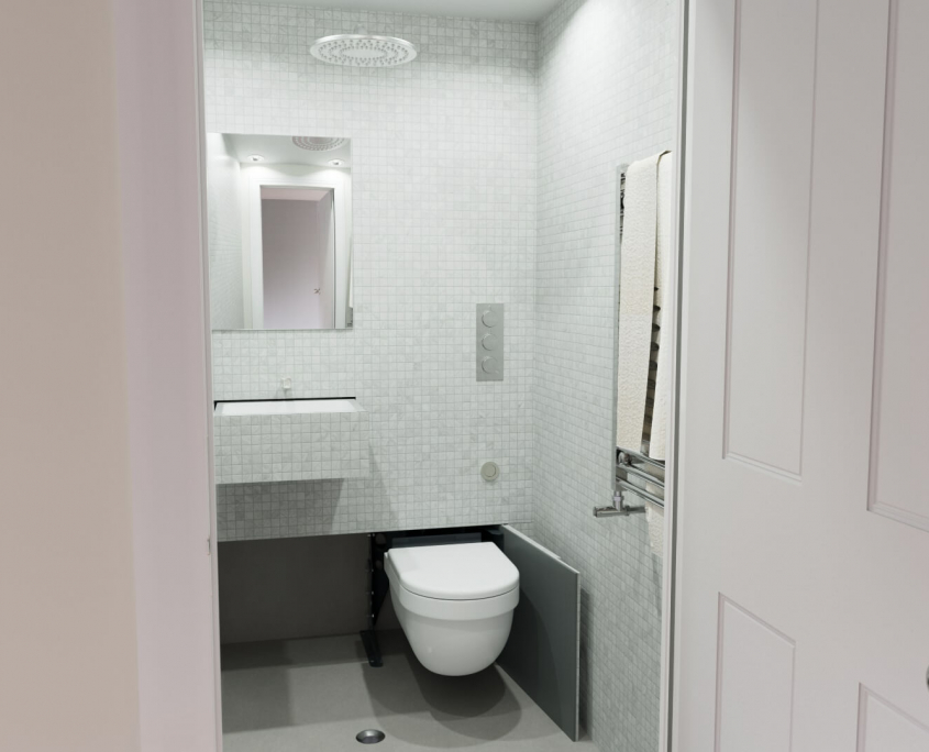 hidealoo small compact shower room with retractable space-saving toilet looking in from the door