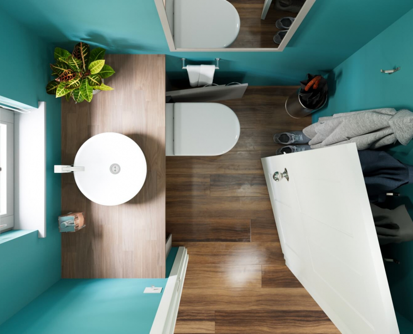 small retractable toilet for a cloakroom viewed from above