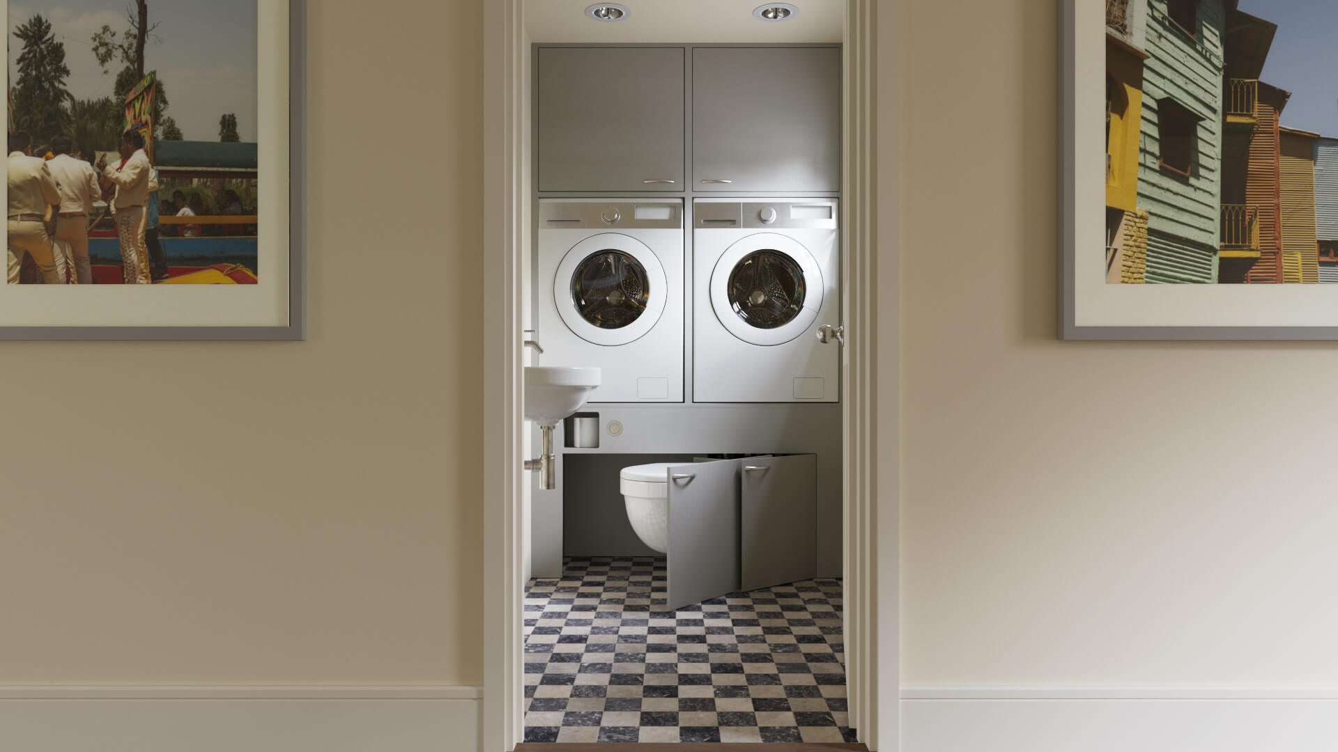 small utility room with hidden retractable space-saving toilet pan